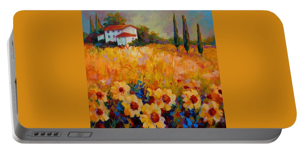 Tuscany Portable Battery Charger featuring the painting Tuscany Sunflowers by Marion Rose