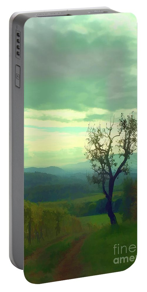 Vineyard Portable Battery Charger featuring the photograph Tuscany Vineyard by Tom Prendergast