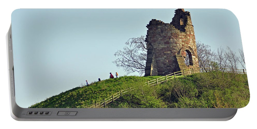 Green Portable Battery Charger featuring the photograph Tutbury Castle Ruins by Rod Johnson