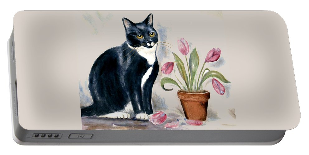 Cat Portable Battery Charger featuring the painting Tuxedo Cat Sitting By The Pink Tulips by Frances Gillotti