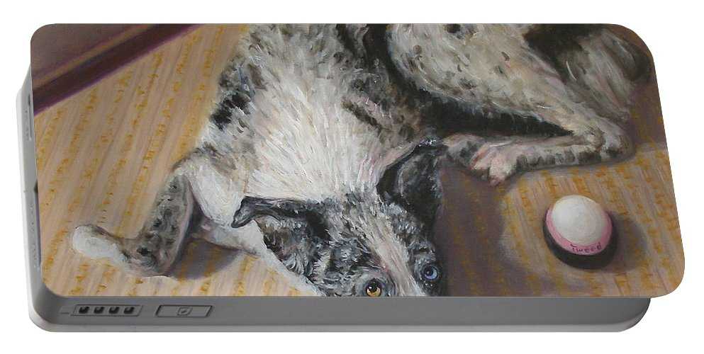 Realism Portable Battery Charger featuring the painting Tweed by Donelli DiMaria