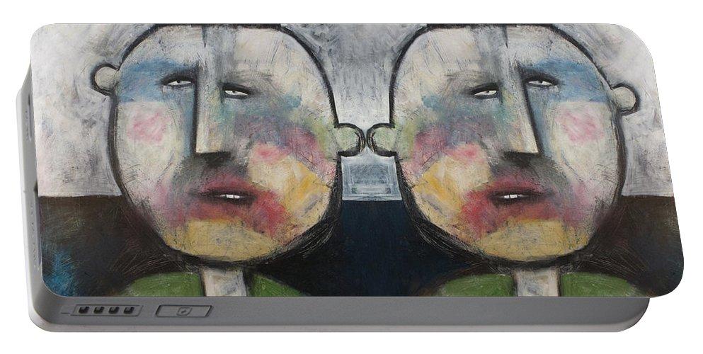 Tweedledee Portable Battery Charger featuring the painting Tweedledee And Tweedledum by Tim Nyberg