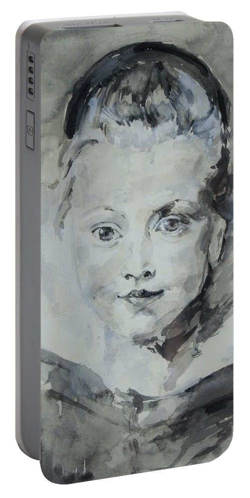 Portrait Portable Battery Charger featuring the painting Twiggy Baby by Mica Leiner