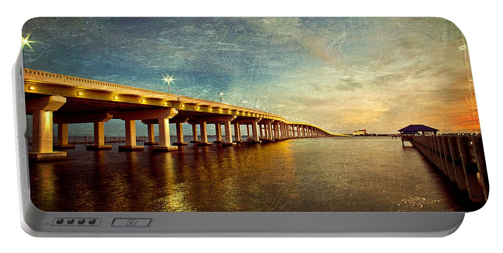 Biloxi Portable Battery Charger featuring the photograph Twilight Biloxi Bridge by Joan McCool