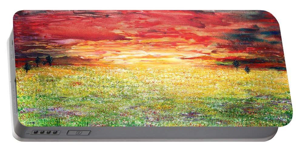 Nature Portable Battery Charger featuring the painting Twilight Bounds Softly Forth On The Wildflowers by Kume Bryant
