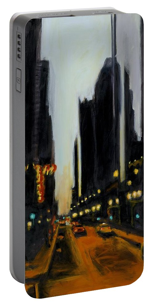Rob Reeves Portable Battery Charger featuring the painting Twilight In Chicago by Robert Reeves