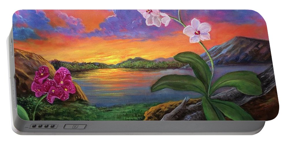 Orchids Portable Battery Charger featuring the painting Twilight Orchids by Randy Burns