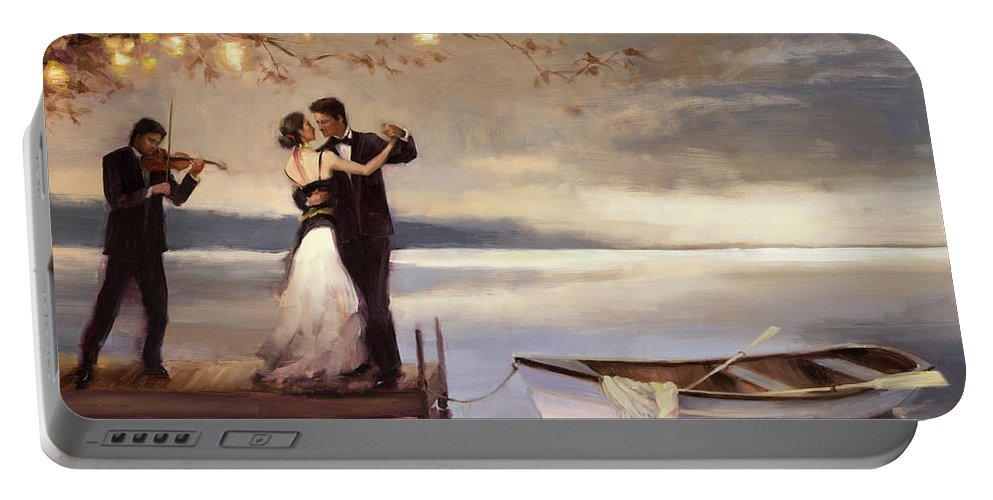 Romantic Portable Battery Charger featuring the painting Twilight Romance by Steve Henderson