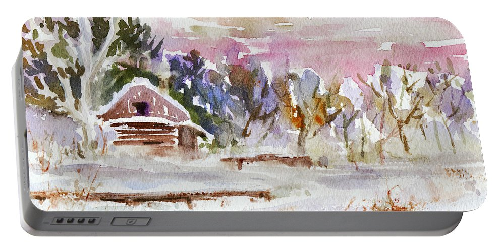 Watercolor Portable Battery Charger featuring the painting Twilight Serenade I by Xueling Zou