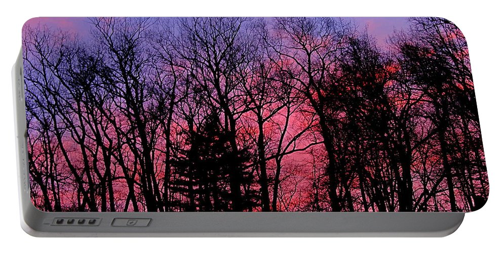 Twilight Trees Forest Sunsets Silhouette Nature Prints Natural Landscapes Skyscapes Colorful Skies Pink And Purple Clouds Portable Battery Charger featuring the photograph Twilight Trees by Joshua Bales