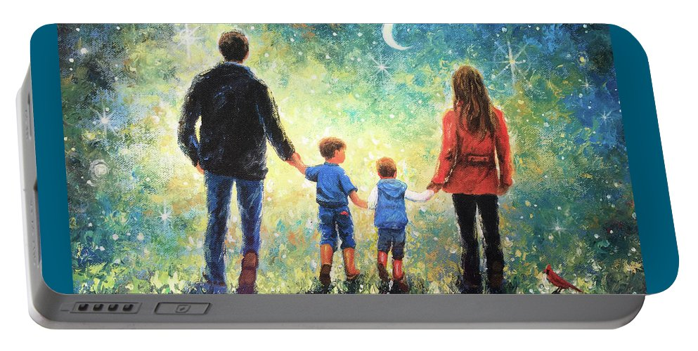 Family Two Sons Portable Battery Charger featuring the painting Twilight Walk Family Two Sons by Vickie Wade