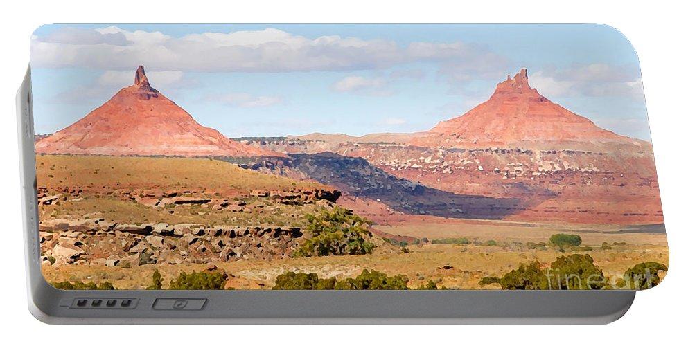 Twin Buttes Portable Battery Charger featuring the photograph Twin Buttes by David Lee Thompson
