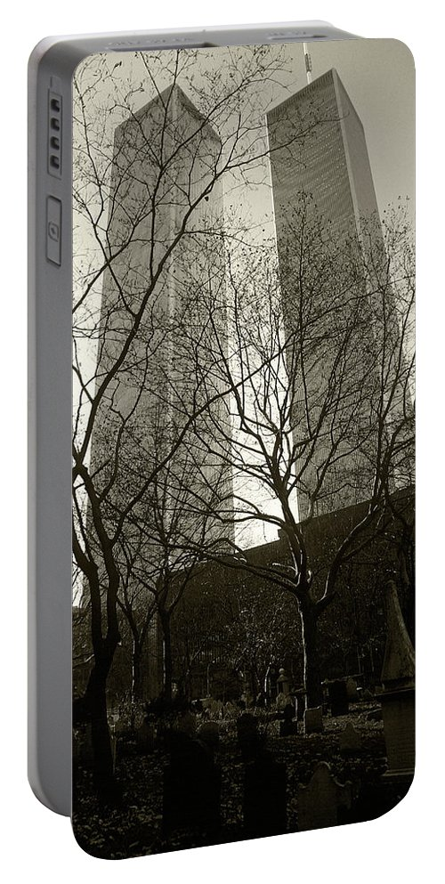 World Trade Center Portable Battery Charger featuring the photograph Twin Towers by Steve Williams