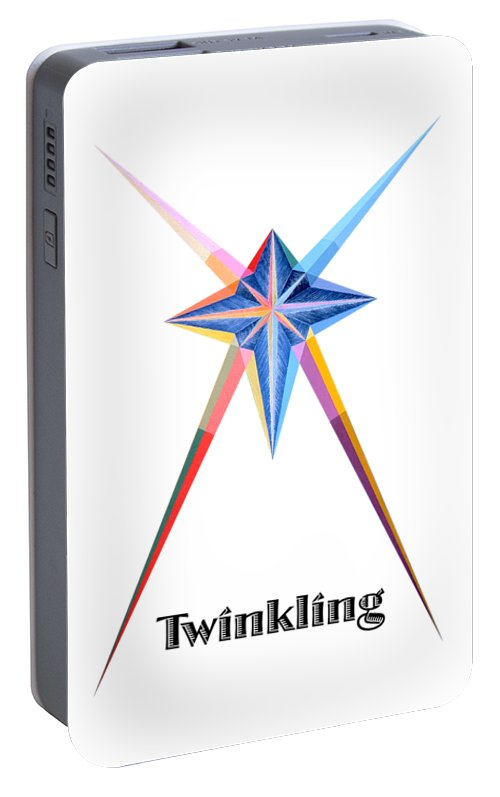 Collection Portable Battery Charger featuring the painting Twinkling text by Michael Bellon