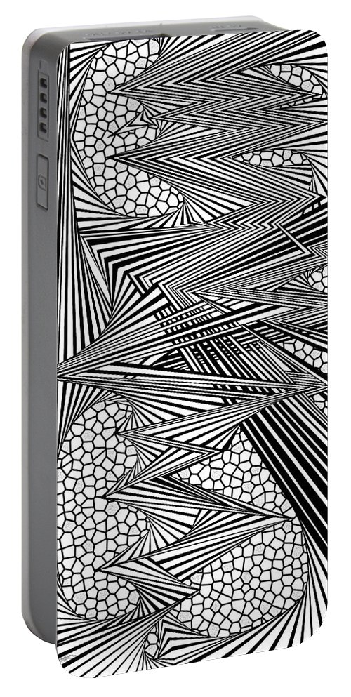 Dynamic Black And White Portable Battery Charger featuring the painting Twinner by Douglas Christian Larsen