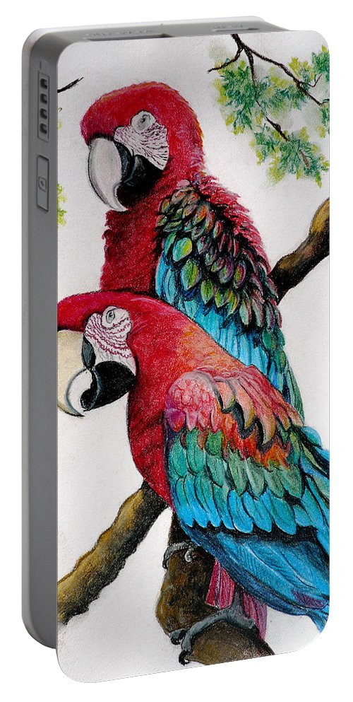 Macaws Portable Battery Charger featuring the pastel Twins by Karin Dawn Kelshall- Best