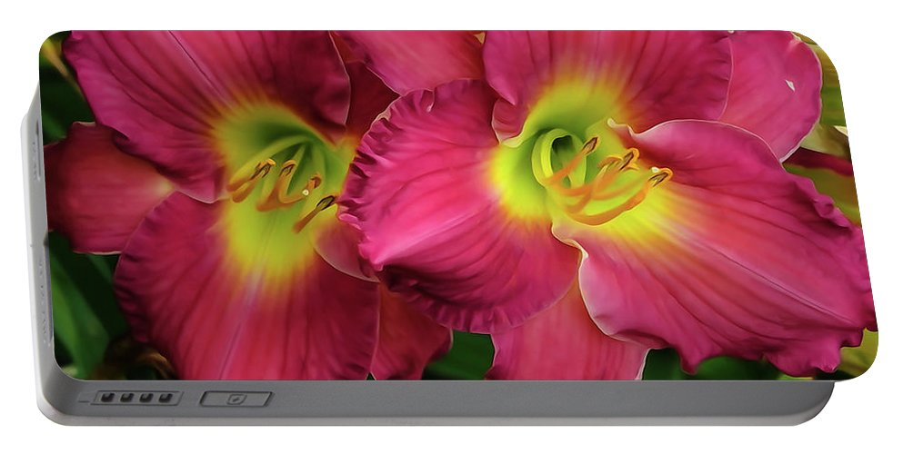 Flower Portable Battery Charger featuring the photograph Twins by Tom and Pat Cory