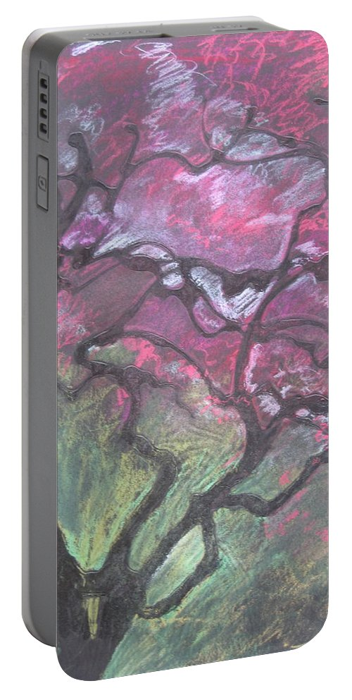 Pastel Portable Battery Charger featuring the drawing Twisted Cherry by Leah Tomaino