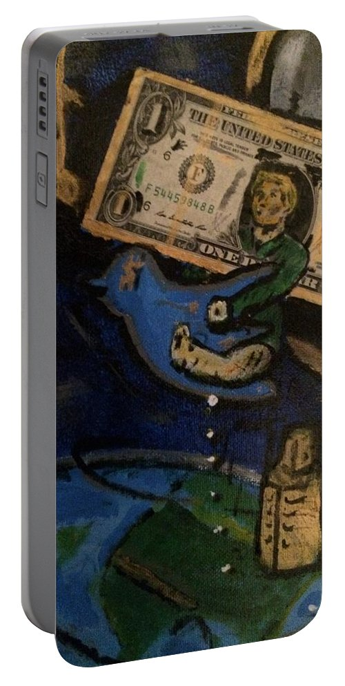 Trump Portable Battery Charger featuring the painting Twitter On The Shitter #2 by Brandon Carlock