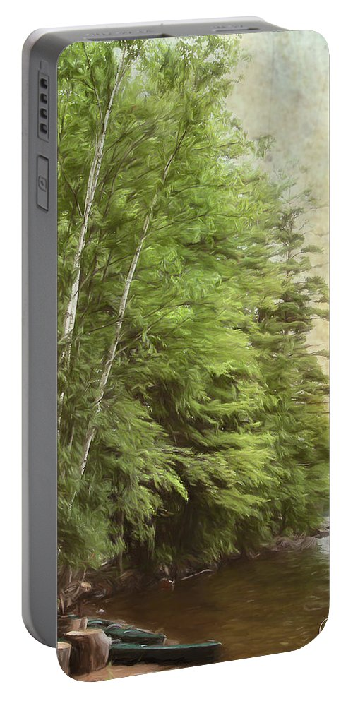 Forest Portable Battery Charger featuring the digital art Two Birches by Christopher Meade