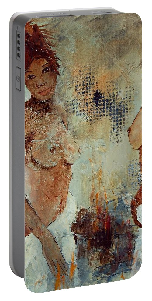Girl Nude Portable Battery Charger featuring the painting Two Black Sisters by Pol Ledent