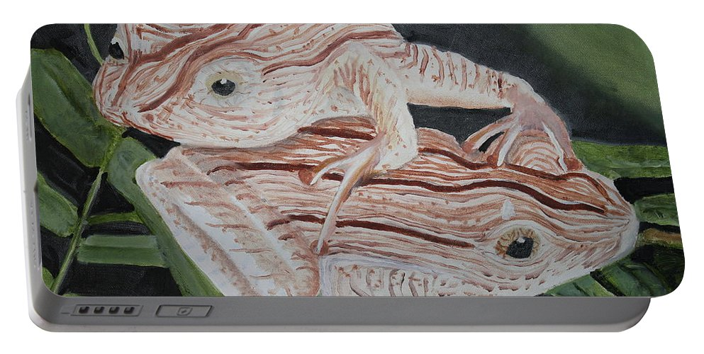Amphibian Portable Battery Charger featuring the painting Two Brown Striped Frogs by Terry Lewey
