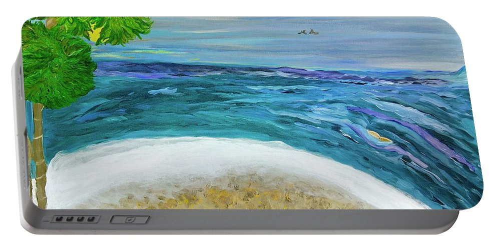 Beach Scene Portable Battery Charger featuring the painting Two By Two At Midnight Blue by Sara Credito