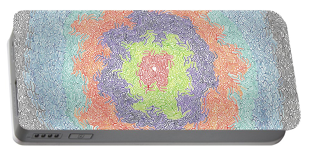 Mazes Portable Battery Charger featuring the drawing Two Can Play by Steven Natanson