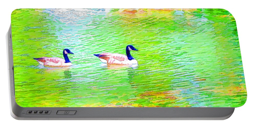 Canadian Geese Portable Battery Charger featuring the painting Two Canadian Geese In The Water by Jeelan Clark