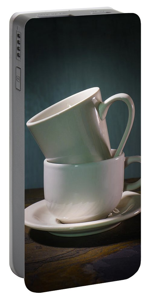 Coffee Portable Battery Charger featuring the photograph Two Coffee Cups On Saucer by Donald Erickson