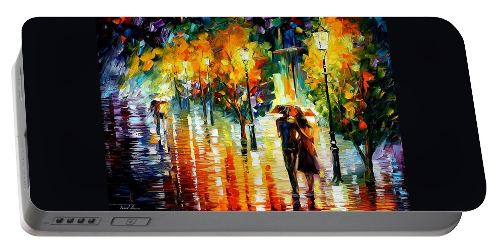 Afremov Portable Battery Charger featuring the painting Two Couples by Leonid Afremov