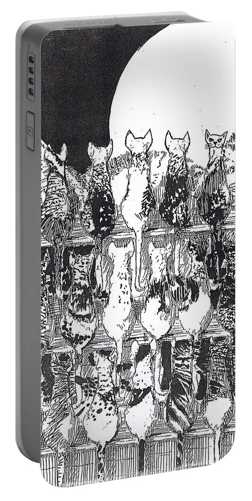 Cats Portable Battery Charger featuring the drawing Two Dozen And One Cats by Seth Weaver