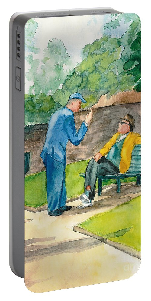 Watercolor Portable Battery Charger featuring the painting Two Englishmen In Conversation by Vicki Housel