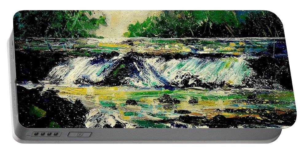 River Portable Battery Charger featuring the painting Two Falls by Pol Ledent