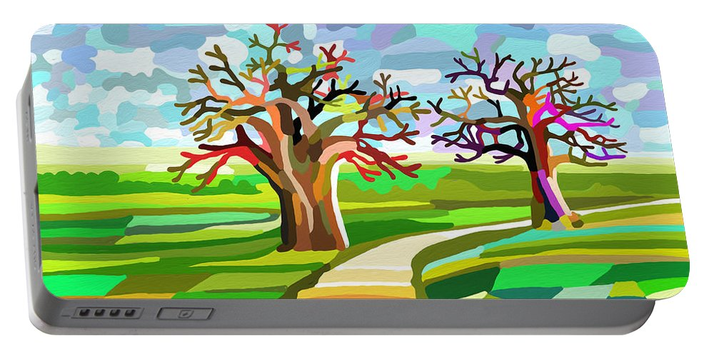 Landscape Portable Battery Charger featuring the painting Two Friends by Anthony Mwangi