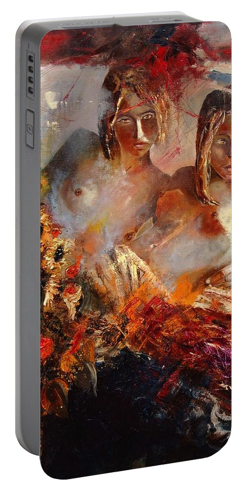 Girl Nude Portable Battery Charger featuring the painting Two Friends by Pol Ledent
