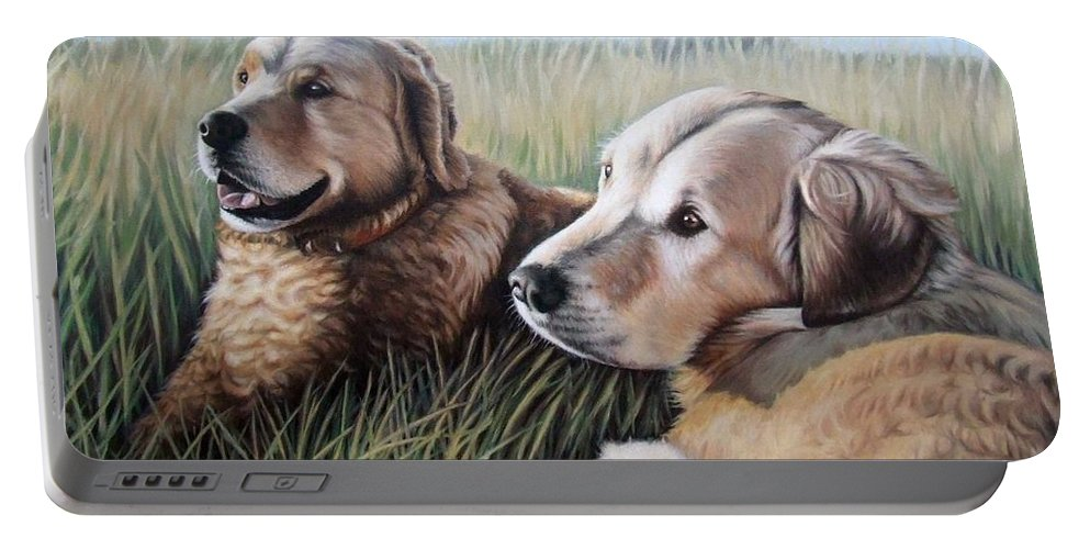 Dogs Portable Battery Charger featuring the painting Two Golden Retriever by Nicole Zeug