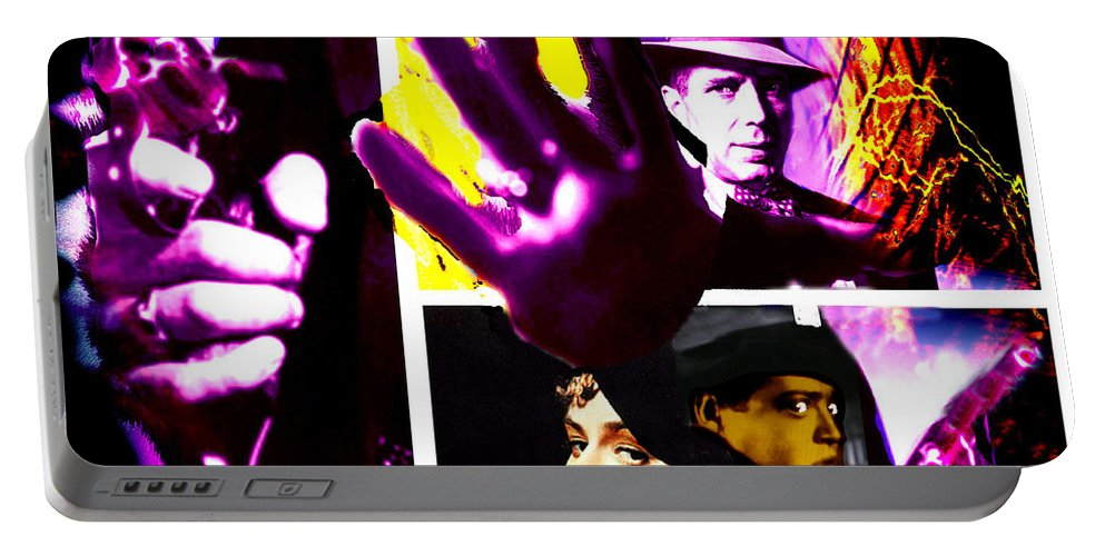 Humphrey Bogart Portable Battery Charger featuring the digital art Two Guys Two Guns And A Dame by Seth Weaver