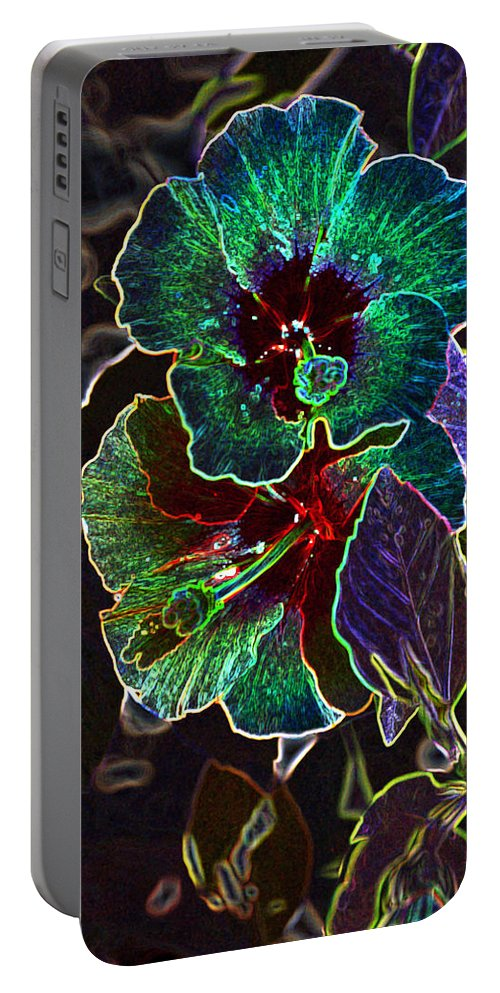 Linda Brody Portable Battery Charger featuring the photograph Two Hibiscus Glowing Edges Abstract by Linda Brody