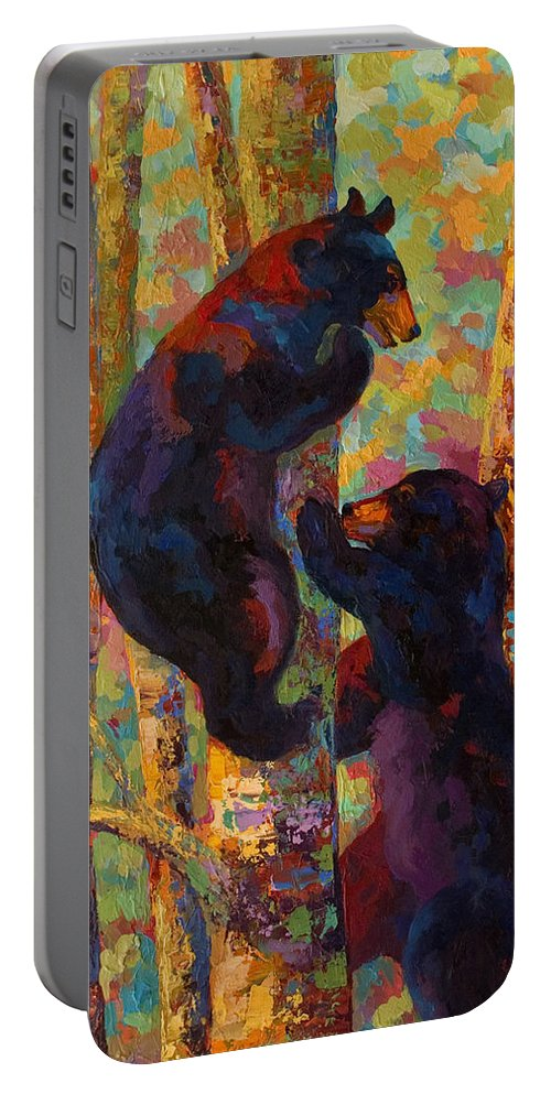 Bear Portable Battery Charger featuring the painting Two High - Black Bear Cubs by Marion Rose