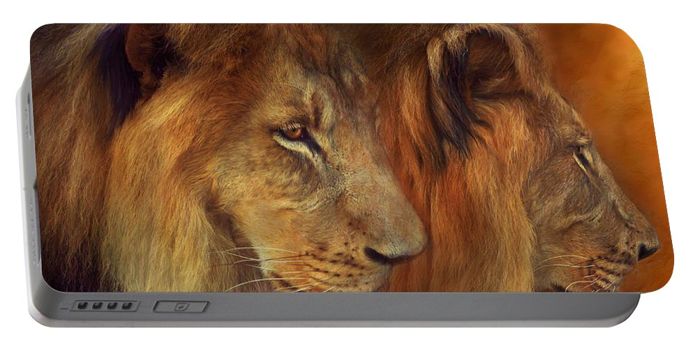 Carol Cavalaris Portable Battery Charger featuring the mixed media Two Lions by Carol Cavalaris