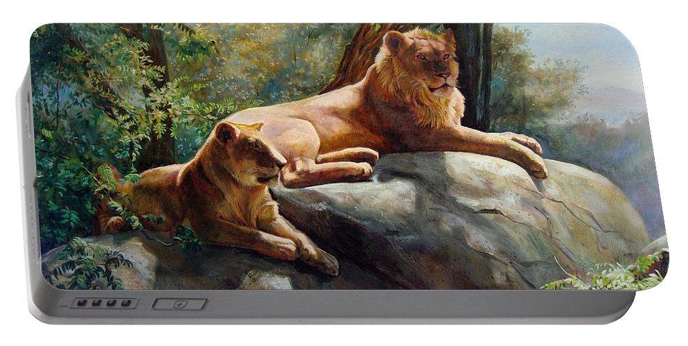 Lions Portable Battery Charger featuring the painting Two Lions - Forever And Always Together by Svitozar Nenyuk