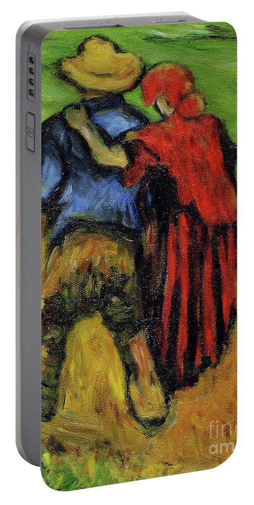 Van Gogh Portable Battery Charger featuring the painting Two Lovers by Xueling Zou