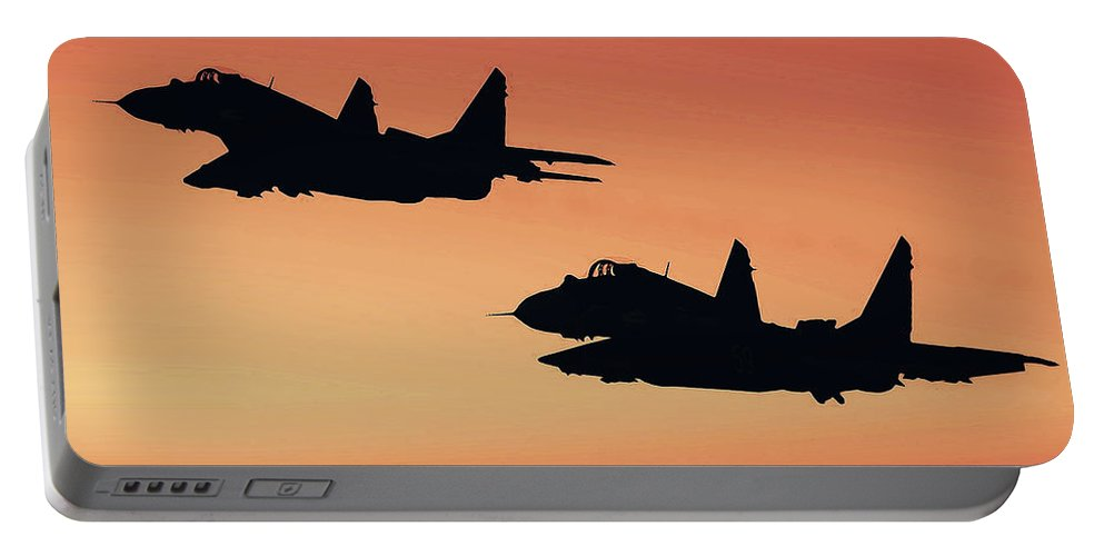 Russia Portable Battery Charger featuring the painting Two Migs At Sunset by Andrea Mazzocchetti