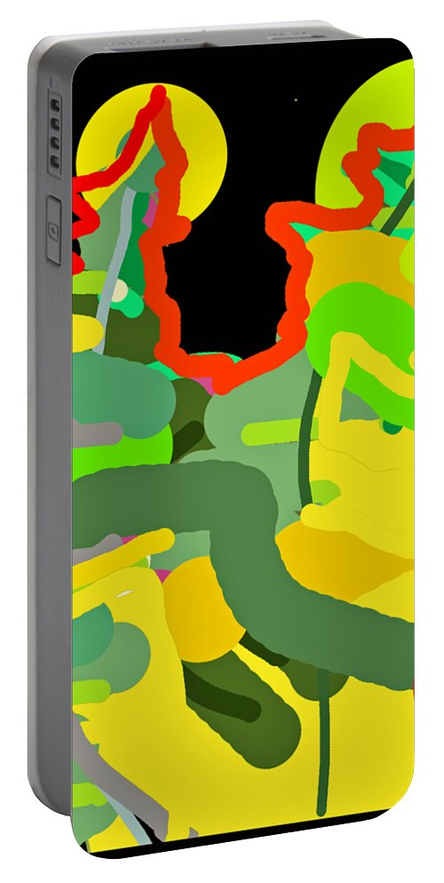 Abstract Portable Battery Charger featuring the digital art Two Moons by Barbara Gerry