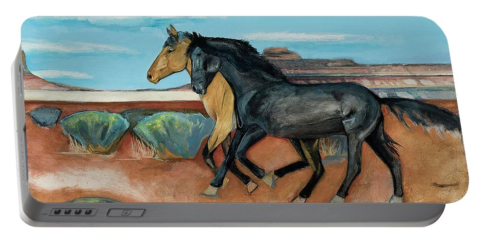 Two Horses Mustangs Portable Battery Charger featuring the painting Two Mustangs by Blair Denny