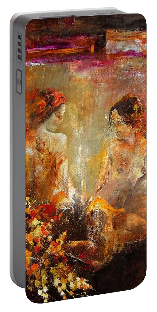 Girl Nude Portable Battery Charger featuring the painting Two nudes by Pol Ledent