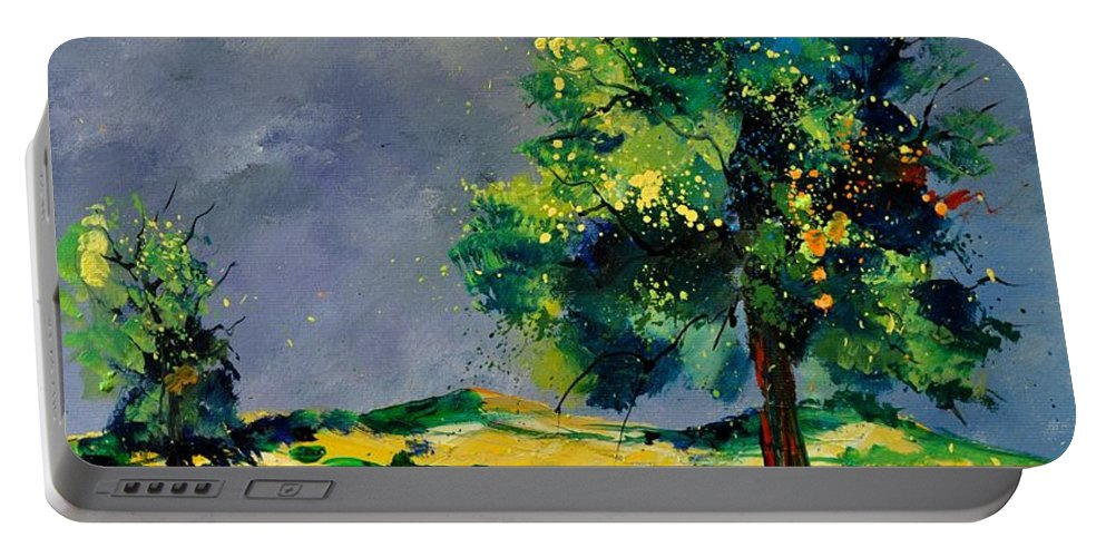 Landscape Portable Battery Charger featuring the painting Two Oaks 56 by Pol Ledent