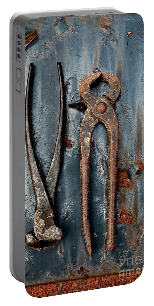 Tools Portable Battery Charger featuring the photograph Two Old Rusty Pliers by Jacqui Hall