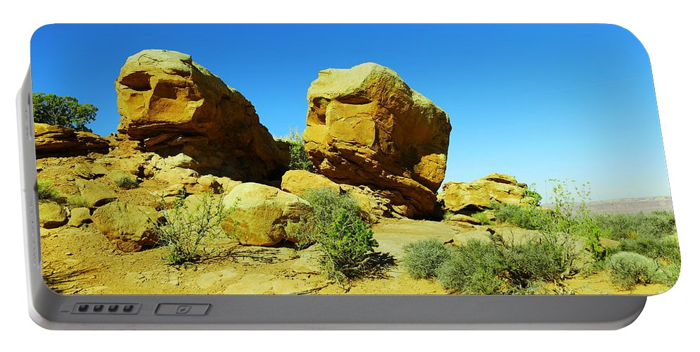 Rocks Portable Battery Charger featuring the photograph Two Orange Rocks by Jeff Swan